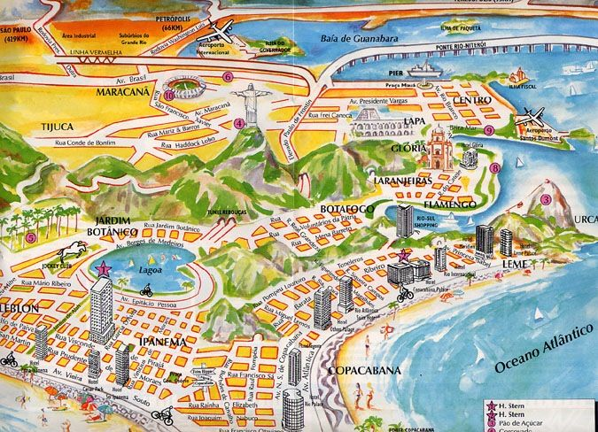 rio de janeiro cartoon map | Rio de Janeiro Trip Planner | Pinterest