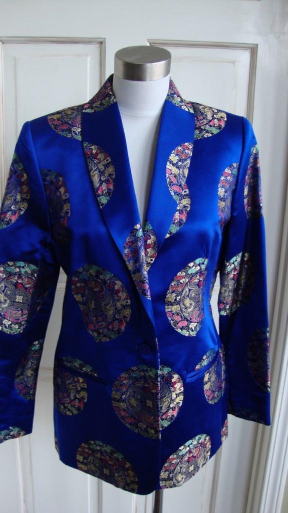 Vintage Brocade Tuxedo Jacket Royal Blue Oriental Sz 4 Jenni Max NYC