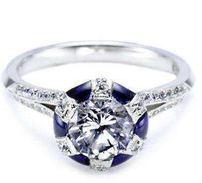 Tacori blue sapphire and diamond ring