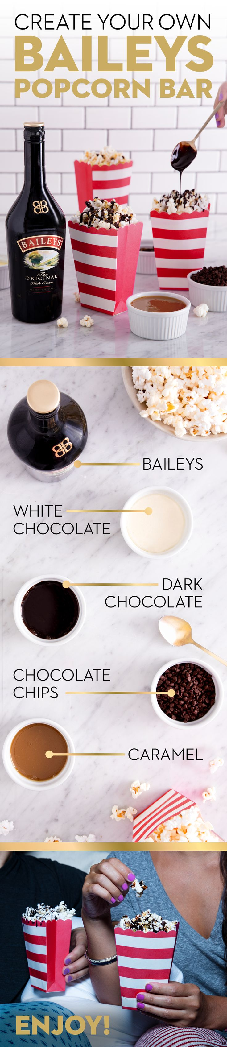 Movies and popcorn are a perfect pair. But we have an even better idea: holiday movies and Baileys flavored popcorn! Turn a standard party snack into a delicious guilt-free treat for a night in with Baileys, chocolate, white chocolate, peanut butter, caramel, cinnamon and more! The weather outside may be frightful, but this recipe is always delightful—perfect for cozying up and catching your favorite holiday flick. Just add Baileys to the sauces and mix well. Then drizzle over popcorn and…