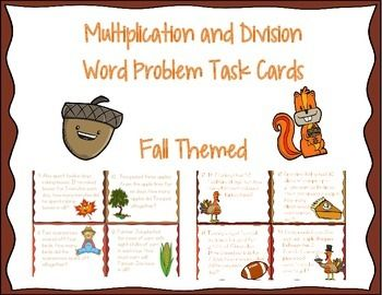 "These fall themed multiplication and division task cards are great practice for your third graders! There are 24 task cards, all with word problems that meet the common core standards for 3rd grade. This product DOES include a recording sheet.You can use these to place around the room and get your students up and moving, use to play ""SCOOT"", center activity, small groups, etc.Please leave feedback!"
