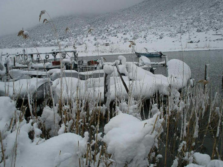Another picture of the  Prespa Lake covered in white