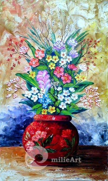 Lukisan Yogyakarta by milieArt: Lukisan Rangkaian Bunga dalam Vas MB-069