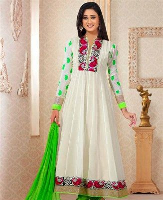 Butta Off White Anarkali Salwar Kameez [ADF28263] $62.38 - Buy fashion wear online, Buy Indian wear Online by A1designerwear.com