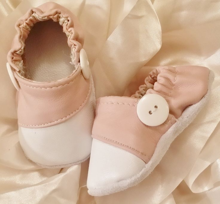 Baby Soft Sole Shoes/ Toddler Shoes - White and Pink Genuine Leather Toddler Shoes / Crib Shoes by BittyToes on Etsy