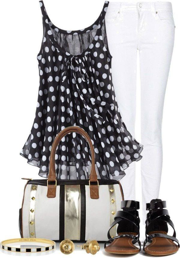 Lovely and #fashion #outfit with white jeans and blackand white polka dots singlet