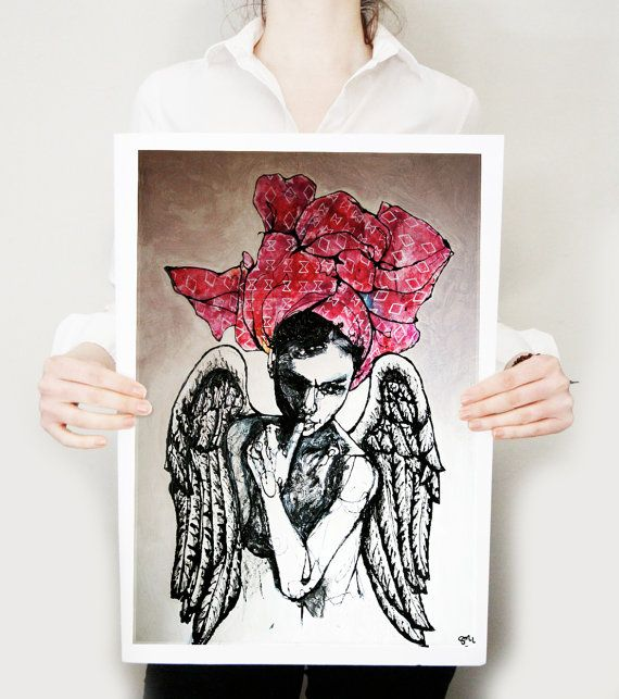 A daring and romantic limited edition Art Print of an ethereal winged lady with a billowing colorful headscarf. A unique gift that would work great with contemporary or shabby chic home decor.