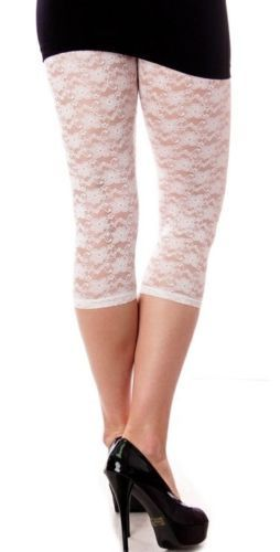 Details about Off White/Cream Gorgeous Stretch Lace Capri Leggings ...