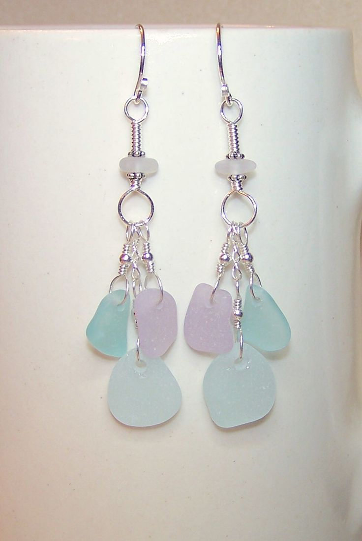 Sea Glass Earrings For Women Soft Pastel Multi Color Silver Dangle Cluster  Earings For Her Beach Glass Jewelry Canada Gift Ideas