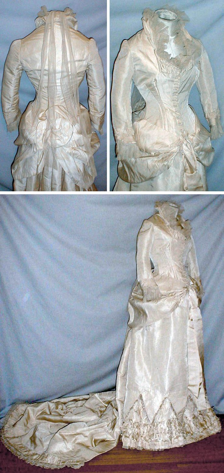 Wedding dress ca. 1880s. Champagne-colored silk, lined with cotton. Bodice has draped panels on each side that extend toward back & long silk ribbon streamers on front hemline edge. Neckline & cuffs trimmed with pleated net lace. Back neckline has long net lace streamers. Skirt's front hemline has Van Dyke points edged with silk fringe. Bottom hemline has rows of ruching edged with fringe. Long back sweep. Ties inside for creating bustle effect. fiddybee/ebay