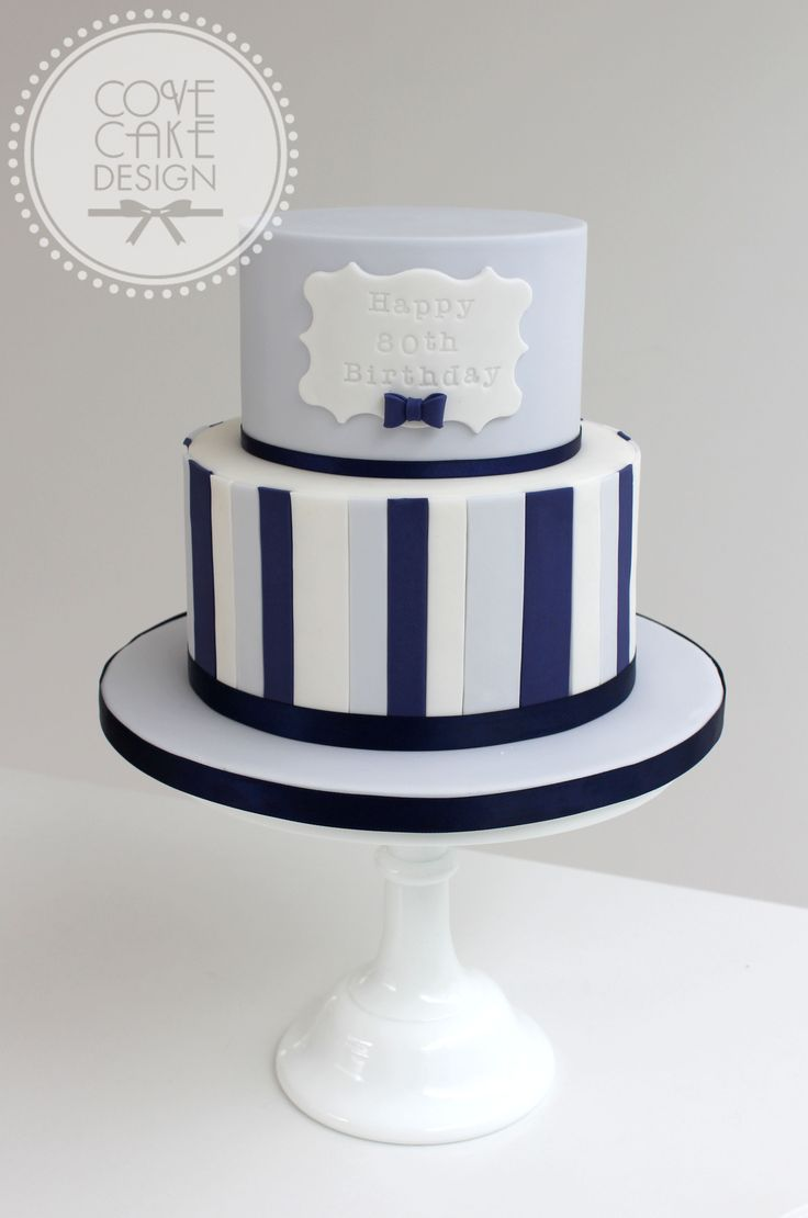 Blue and navy stripe male birthday cake