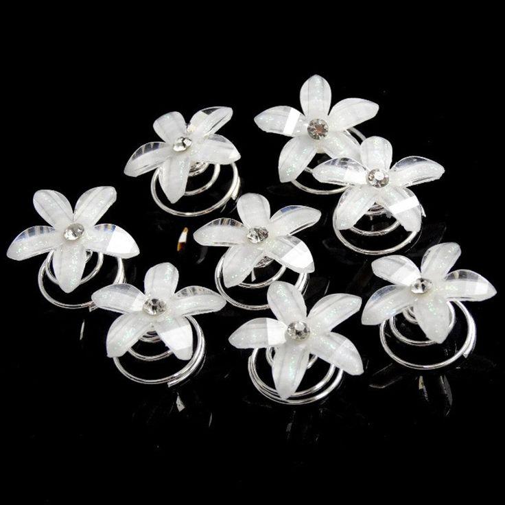 12pcs White Crystal Rhinestone Flower Swirl Spiral Wedding Twist Coils Hair Pins Clip Women Hair Jewelry Girls Accessories