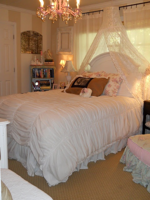 romantic...I am doing the shelf in corner and canopy over head board which looks like a lamp shade with lace...