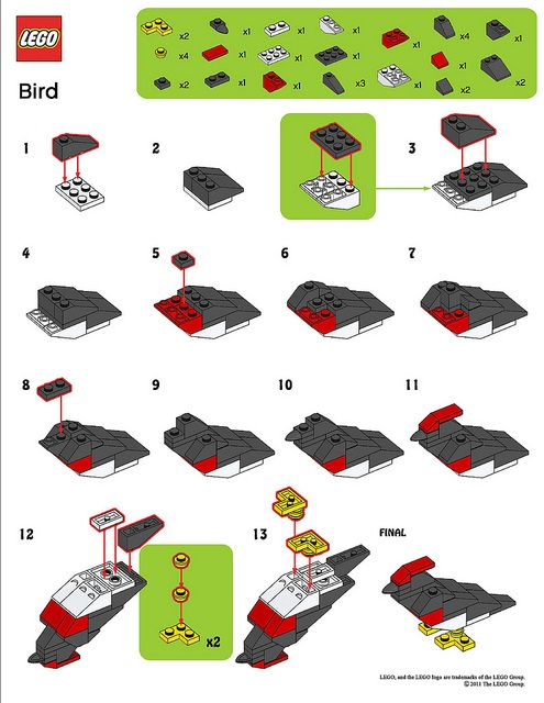 LEGO MMMB - March '11 (Bird) Instructions by TooMuchDew, via Flickr