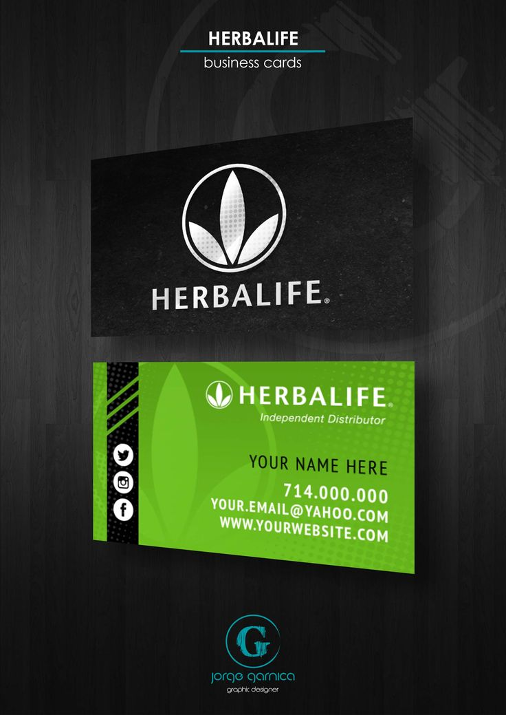 Herbalife business card design template.