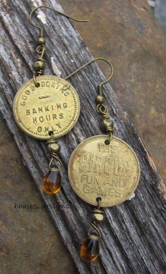 Vintage Token Earrings by brendalou2 on Etsy, $20.00