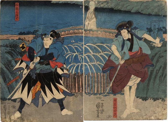 Japanse diptych prent door Kuniyoshi Utagawa (1797–1861)   Afmetingen van elk paneel:  37 x 25 – Dubbele censuurzegel en uitgeverszegel  Gesigneerd Ichiyusai Kuniyochi ga.  Datering: ca. 1850  Lichte slijtage en vlekken. Kleine gaatjes aan de zijkant