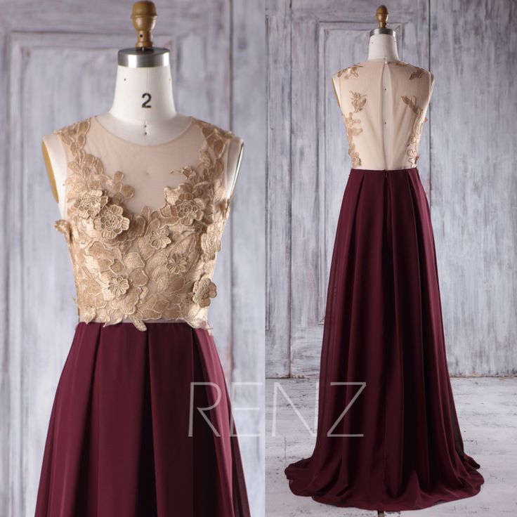 2016 Rose Gold Lace Bridesmaid Dress Long, Wine Chiffon Wedding Dress, Hollow Back Prom Dress, Sexy Evening Gown Floor Length (H358) by RenzRags on Etsy https://www.etsy.com/listing/481729564/2016-rose-gold-lace-bridesmaid-dress