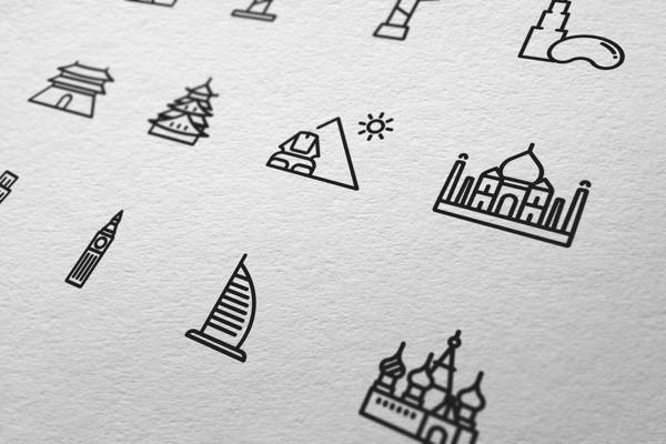 Touristic icon design by Yoon J , via Behance