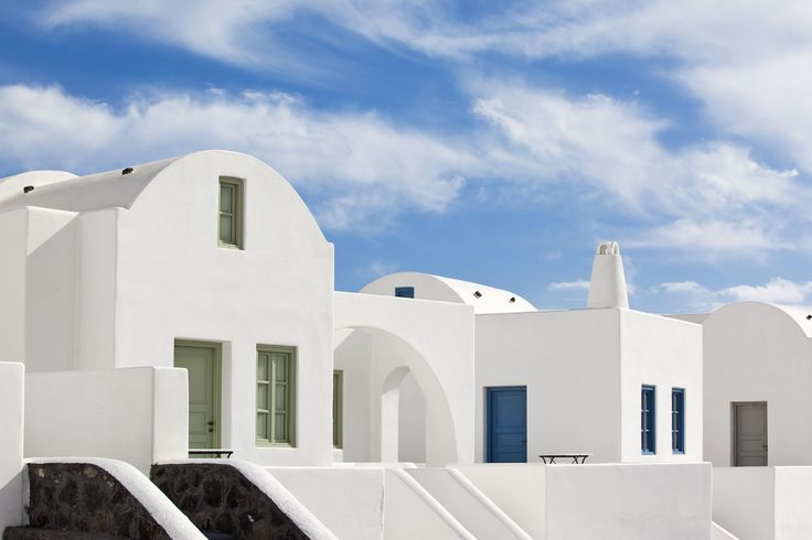 The whitewashed villas and the blue sky make the perfect setting for dreamers to seize the day on #holidays. Thermes #luxury Villas View...#Santorini #summerholidays