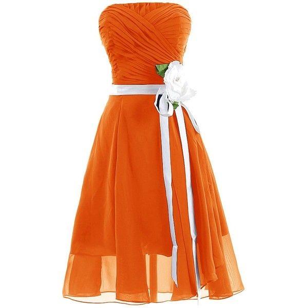 Dresstells Strapless Chiffon Prom Dress Short Bridesmaid Homecoming... ($89) ❤ liked on Polyvore featuring dresses, short dresses, prom dresses, chiffon dress, orange bridesmaid dresses, bridesmaid dresses and orange prom dresses