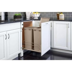 22.875 in. H x 14.75 in. W x 22.25 in. D Double50 Qt. Pull-Out Champagne Waste Container with Soft-Close Slides