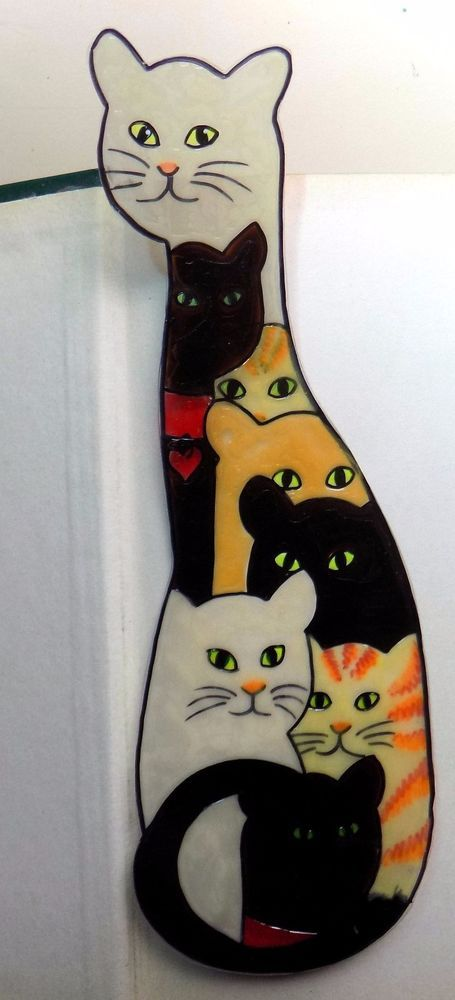 WICOART MARQUE PAGE EFFET FAUX STAINED GLASS PEINT MAIN CHATS CATS CATZ GATTI