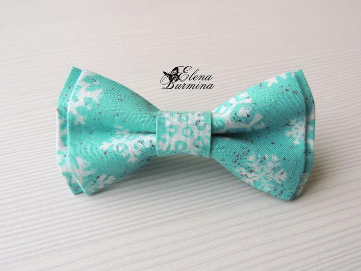 Купить Бабочка галстук со снежинками, хлопок - бирюзовый, рисунок, снежинка, снежинки, зима