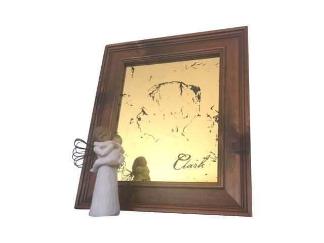 Custom Portrait -  Gilded Mirror - Silhouette - 22k Gold Leaf - 8x10 Wood Frame- Distressed Mirror - Personalized Gift by prettySpeigel on Etsy
