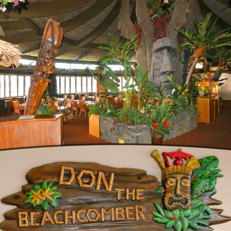 """Don The Beachcomber, Kailua Kona, Big Island, Hawaii - The Restaurant Designed by Tiki architect George """"Pete"""" Wimberly, the imposing Polynesian inspired roofline of the Restaurant anchors the exotically tropical theme. Hawaiian music, lush foliage, lava rock, tiki carvings, fountains, and lurking Stone Moai will be your setting for dinner. Waterside tables at sunset with the sound of water lapping the shore. The food is as fabulous as the view and uses fresh local ingredients. The Mai-Tai…"""
