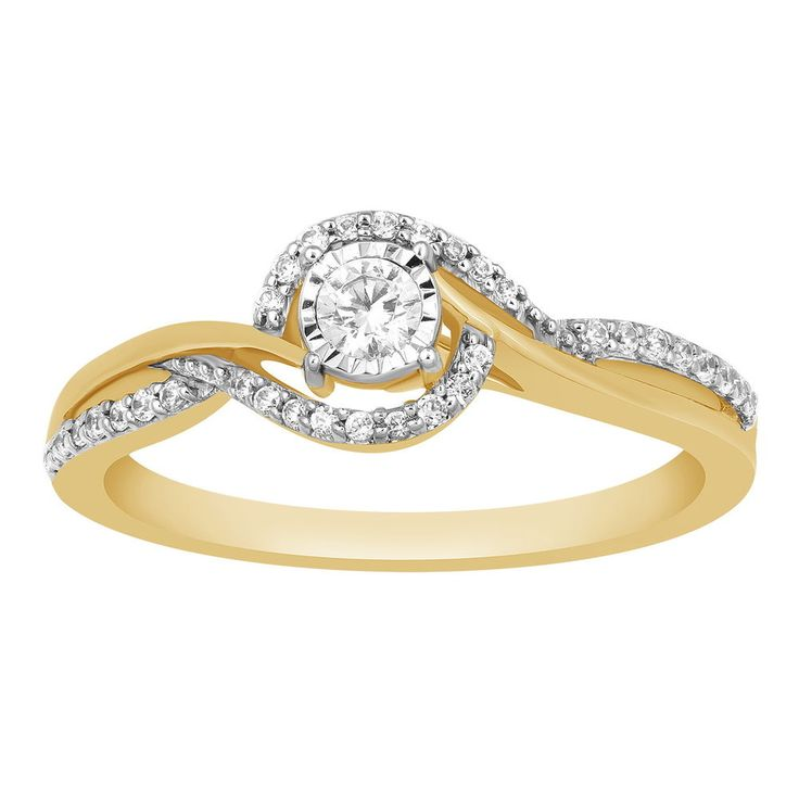 Solid 10k Yellow Gold 0.25 Ct Natural Diamonds Solitaire Swirl Promise Ring #CaratsForYou #Promise #EngagementWeddingAnniversaryPromiseValentine
