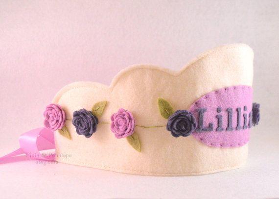 Fieltro corona de princesa púrpura corona de por pixieandpenelope
