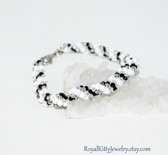 Black White Spiral bracelet Bead by RoyalKittyJewelry on Etsy