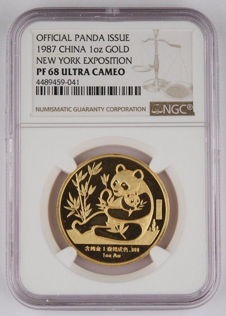 China 1987 Sino-American PANDA 1 Oz Gold Proof Medal Coin NYC Expo WTC NGC PF68