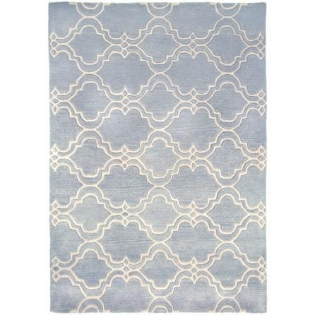 Flair Rugs Extra Large Safi Patterned Duck Egg Blue Wool Rug