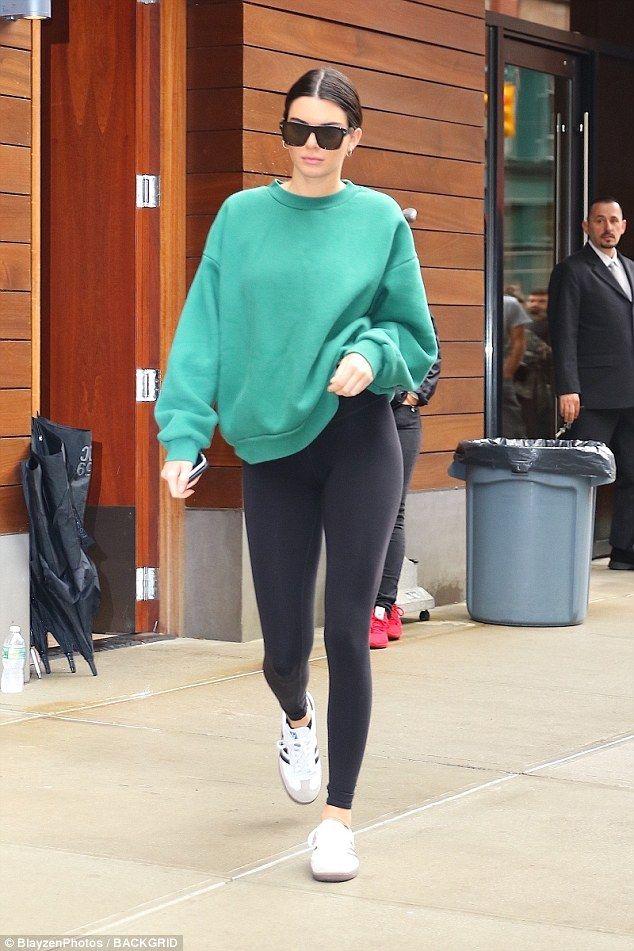 Comfort is key! The supermodel, 21, changed into a comfortable sweatshirt and leggings as she pounded the pavement in Lower Manhattan