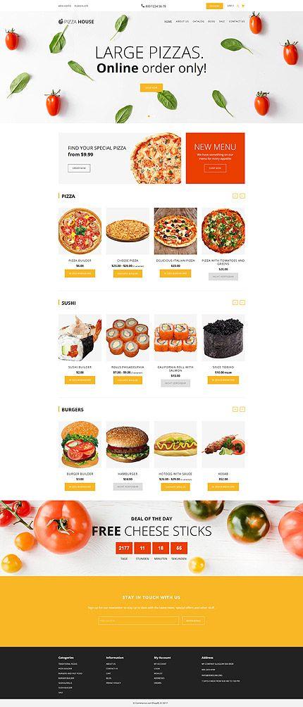 pizza house responsive shopify theme shopify themes pinterest