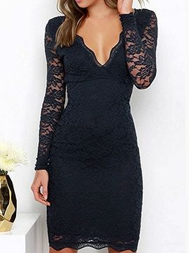Shop Black Plunge Sheer Sleeve Bodycon Lace Dress from choies.com .Free shipping Worldwide.$24.9