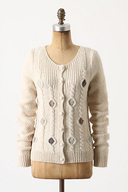 This reminds me of a Jean Moss pattern that was in an early issue of The Knitter...Sales Diamonds Cardigans, Softer Diamonds, Pretty Cardigans, Cozy, Anthropology, Knits Inspiration, Style, Inspiration Knits, Sweaters Cardigans