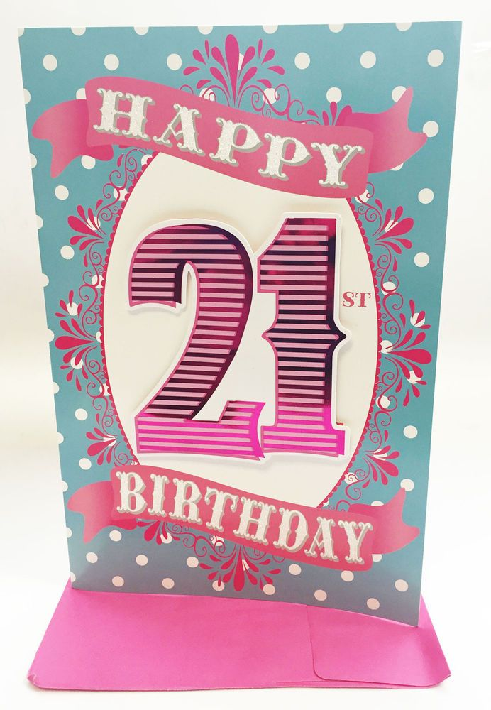 Age 21st Birthday Card Extra Large Modern Nice Words