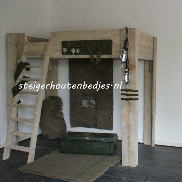 #stoere #jongenskamer #goedkope #hoogslaper #steigerhout #legerkamer