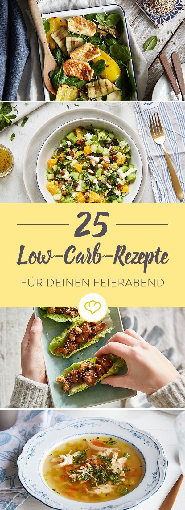 Schnell, schneller, Low Carb: Diese 25 leichten Rezepte von Salat über Fleisch, Fisch und vegetarische Köstlichkeiten sind zum Feierabend extra fix gemacht.