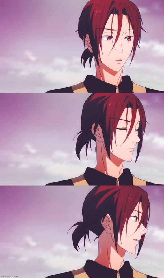 Rin from Free WHen he puts that ponytail hairstyle on I start to fangurl so hard Like Gou. WHY CAN'T you exist???