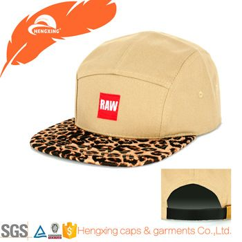 Design Your Own Leopard Brim Cotton 5 Panel Cap Hat With Woven Label
