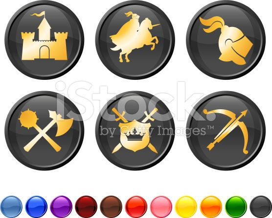 Medieval Knight royalty free vector icon set royalty-free stock vector art