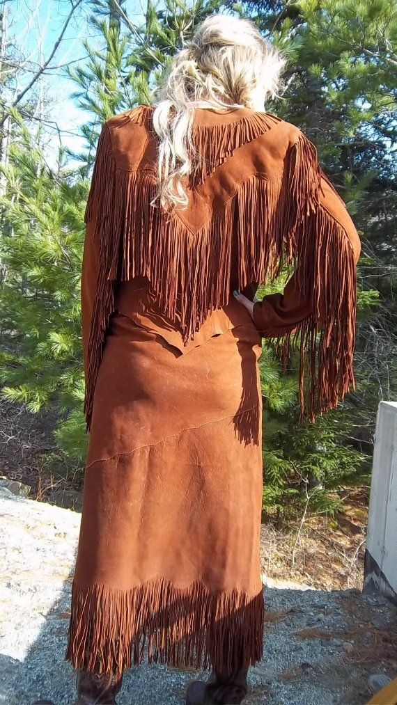 1960's Vintage  LEATHER FRINGED Coat and Skirt by OceansideVintage, $140.00