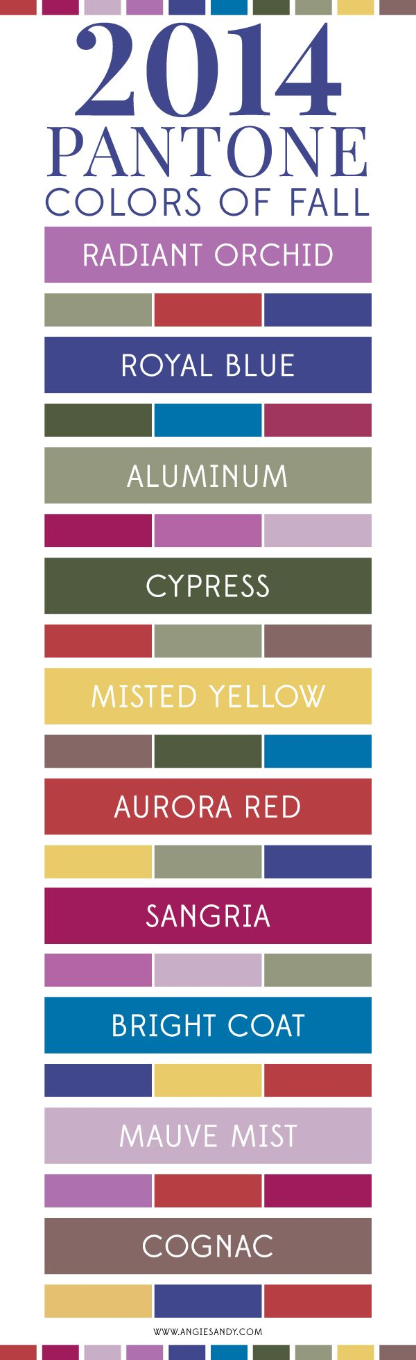 Pantone Colors of Fall 2014 I think I could work with Aluminium, Royal Blue & Cypress with hints of the Misted Yellow & Bright Coat.