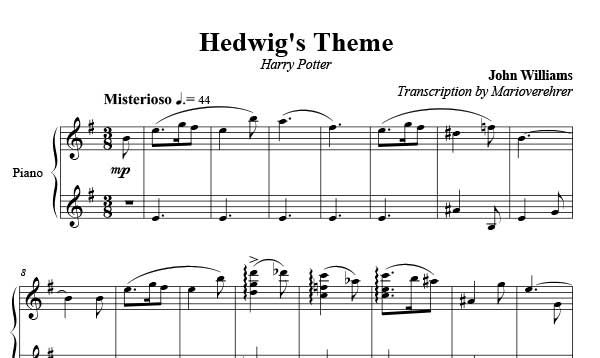 Hedwig S Theme Sheet Music Harry Potter Piano Sheet Sheet Music