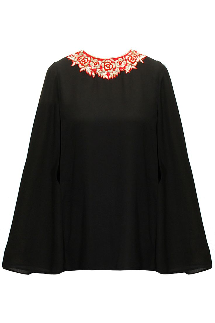 Black floral embroidered cape available only at Pernia's Pop-Up Shop.