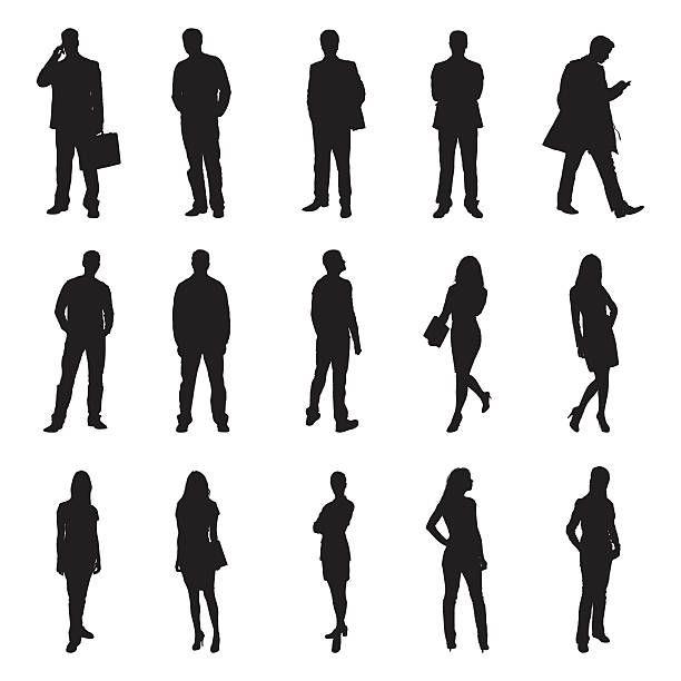 People Standing Black Silhouette Vector Illustrations Schwarze Silhouette Silhouette Mensch Silhouette